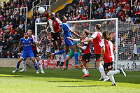 Moussa Diarra of Woking heads the ball away from goal during Woking vs Welling United, Vanarama National League South Promotion Play-Off Final Football at The Laithwaite Community Stadium on 12th May 2019