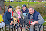 PETTING:Caoimhe O'Mahony (MIllstreet) petting her greyhound (Becky) down before entering herin one of the many raceces at the Ballyheigue Coursing on Sunday -r: Kathleen Gilbride, Caoimhe O'Mahony, Donal O'Mahony (MIllstreet) and Teresa Foran (Ballyheigue)...
