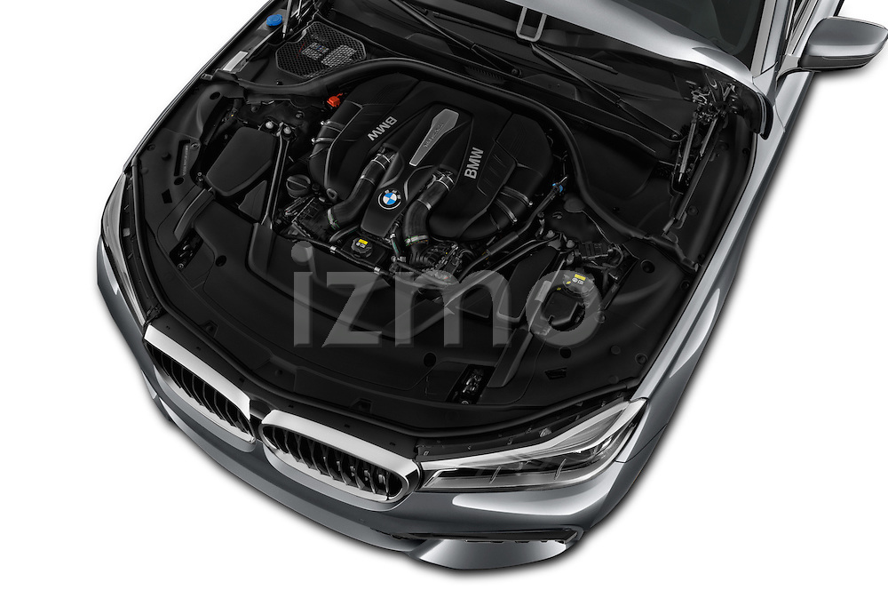 Car Stock 2017 BMW 7 Series 750i M Sport 4 Door Sedan Engine  high angle detail view