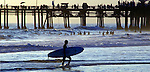 Surfer at Santa Monica Beach