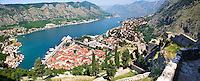 View from the medieval  hill fortifications above Kotor across roof tops and Kotor Bay - Montenegro