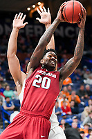 NWA Democrat-Gazette/CHARLIE KAIJO Arkansas Razorbacks forward Darious Hall (20) reaches for a layup during the Southeastern Conference Men's Basketball Tournament semifinals, Saturday, March 10, 2018 at Scottrade Center in St. Louis, Mo. The Tennessee Volunteers knocked off the Arkansas Razorbacks 84-66