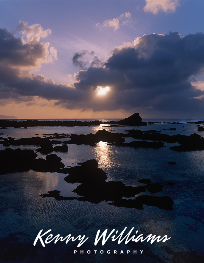 Sunset over Tide Pools, North Shore, Oahu, Hawaii, USA.