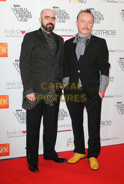 Bruno Basso and Chris Brooke.Arrivals at the WGSN Global Fashion Awards held at the Savoy Hotel, The Strand, London, England..November 5th 2012.full length black grey gray white blue yellow polka dot shirt jacket shoes beard facial hair .CAP/ROS.©Steve Ross/Capital Pictures..