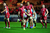 Gareth Davies of Scarlets in action during the European Rugby Challenge Cup Round 4 match between the Scarlets and Bayonne at the Parc Y Scarlets in Llanelli, Wales, UK. Saturday 14 December 2019