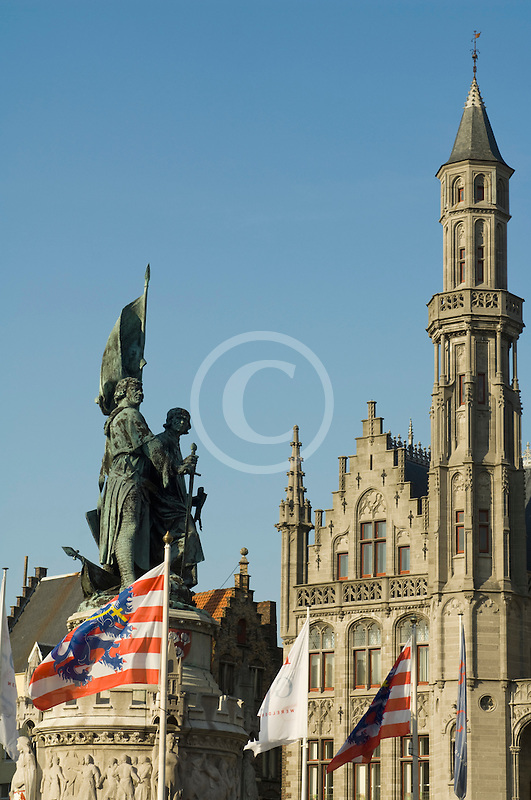 Belgium, Bruges, Statue of Jan Breydel and Pieter de Coninck, Provincial Palace