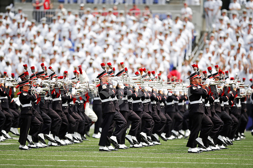 The Ohio State Marching Band performs during half time of the college football game between the Ohio State Buckeyes and the Navy Midshipmen at M&T Bank Stadium in Baltimore, Saturday afternoon, August 30, 2014. The Ohio State Buckeyes defeated the Navy Midshipmen 34 - 17. (The Columbus Dispatch / Eamon Queeney)