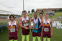 The Kelly boys team poses with their Class 2 fourth-place trophy at the 2015 Missouri High School Class 1-2 State Track and Field Championships.