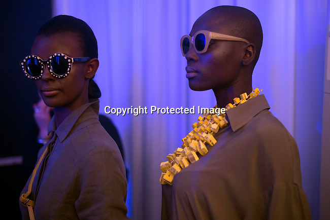 CAPE TOWN, SOUTH AFRICA JULY 30: Models walking for the designer Habits waits backstage before a show on July 30 2015 at the V&A Watershed in Cape Town, South Africa. Habits is one of South Africa's most established designers and they showed at the yearly Mercedes Benz Cape Town Fashion Week, where some of South Africa's finest designers showed their Spring/Summer 2016 collections, during the 3-day event. (Photo by Per-Anders Pettersson)