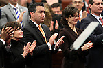 From left, Landra Reid, Nevada Gov. Brian Sandovalon, his chief of staff Heidi Gansert and Secretary of State Ross Miller applaud following a speech by U.S. Senate Majority Leader Harry Reid on Tuesday, Feb. 22, 2011 at the Legislature in Carson City, Nev. .Photo by Cathleen Allison