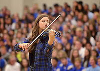 NWA Democrat-Gazette/BEN GOFF @NWABENGOFF<br /> The Rogers High orchestra performs 'The Devil Went Down to Georgia' on Friday Sept. 18, 2015 during the homecoming ceremony at Rogers High School.