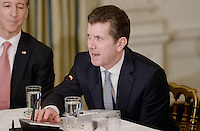 Alex Gorsky, Chairman and Chief Executive Officer of Johnson & Johnson speaks during a  listening session with manufacturing CEOs  in the State Dining Room  of the White House on February 23, 2017 in Washington, DC. Photo Credit: Olivier Douliery/CNP/AdMedia