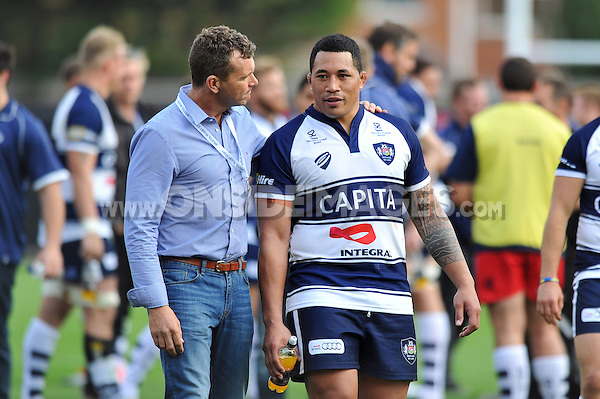 Bristol Rugby First Team Coach Sean Holley has a word with Anthony Perenise after the match. Greene King IPA Championship match, between Bristol Rugby and Cornish Pirates on September 21, 2014 at Ashton Gate in Bristol, England. Photo by: Patrick Khachfe / JMP
