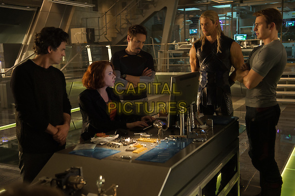 Mark Ruffalo, Scarlett Johansson, Robert Downey Jr., Chris Hemsworth, Chris Evans<br /> in Avengers: Age of Ultron (2015) <br /> *Filmstill - Editorial Use Only*<br /> CAP/NFS<br /> Image supplied by Capital Pictures