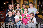 Enjoying the Community Games Awards night at the Thatch bar Lisselton on Friday night were front, l-r Sophie Lynch, Claudia Lynch, Maria O'Neill and Abigail Lynch.  Back l-r Kieran O'Connell, Sean O'Donnell, Darragh Sheehy and jason Foley.   Copyright Kerry's Eye 2008