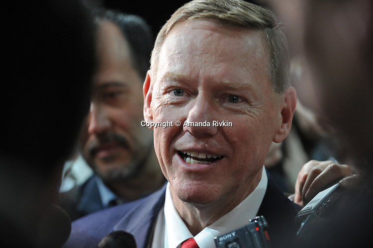 Alan Mulally, President and CEO of Ford, answers questions from members of the media after the Ford presentation at the Detroit Auto Show in Detroit, Michigan on January 11, 2009.