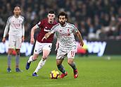 4th February 2019, London Stadium, London, England; EPL Premier League football, West Ham United versus Liverpool; Mohamed Salah on the ball