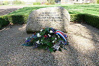 BNPS.co.uk (01202 558833)<br /> Lochem/BNPS<br /> <br /> Pictured: A memorial stone for Flight Sergeant William Hurrell 60 metres from the crash site in Holland was unveiled in 1999.<br /> <br /> The remains of a 'lost' British airman have been discovered 75 years after his plane crashed in Holland.<br /> <br /> Flight Sergeant William Hurrell was killed when his RAF Typhoon was hit by an enemy plane as he flew to the aid of besieged paratroopers at Arnhem in 1944.<br /> <br /> The single-seater fighter-bomber was seen to plummet into farmland 12 miles north of Dutch city.