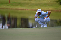 Dustin Johnson (USA) lines up his putt on 9 during round 3 of the WGC FedEx St. Jude Invitational, TPC Southwind, Memphis, Tennessee, USA. 7/27/2019.<br /> Picture Ken Murray / Golffile.ie<br /> <br /> All photo usage must carry mandatory copyright credit (© Golffile | Ken Murray)