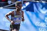 NEW YORK, NY, 06.11.2016 - MARATONA-NEW YORK -Ghirmay Ghebreslassie  da Eritreia comemora vitória durante a Maratona Internacional de New York  nos Estados Unidos neste domingo, 06. (Foto: William Volcov/Brazil Photo Press)