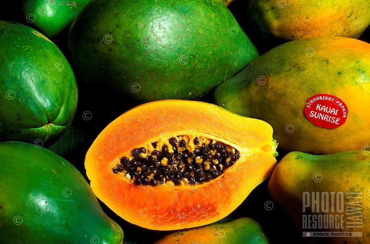 Colorful sunrise (strawberry) papayas from the Island of Kauai