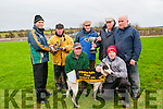 Lixnaw Coursing: Sean Flaherty presenting the trophy to Eamon Whelan joint owner of Lisahane Mafi winner of the Dew Drop Inn Stake & Billo'Connor & Dan Mangan Cup at Lixnaw coursing on Sunday last. Front : Jo Jo Daly &................, Back : Eamon Whelan, Sean Flaherty, Willie O'Connell, Michael Whelan & Tom Guerin.