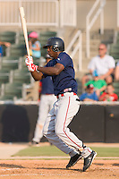 Shortstop Oscar Tejeda (5) of the Greenville Drive follows through on his swing at Fieldcrest Cannon Stadium in Kannapolis, NC, Sunday August 10, 2008. (Photo by Brian Westerholt / Four Seam Images)