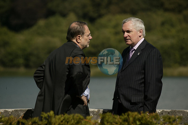 Newmarket-on-Fergus Ireland, IRISHPRIME MINISTER BERTIE AHERN CHATTING WITH JAVIER SOLANA HIGHER REP OF THE EU DURING THE EU US SUMMIT meeting in Dromoland Castle 26/06/04.Photo AFP/NEWSFILE/FRAN CAFFREY..(Photo credit should read FRAN CAFFREY/NEWSFILE/AFP)...This Picture has been sent you under the condtions enclosed by:.Newsfile Ltd..the Studio,.Millmount Abbey,.Drogheda,.Co Meath..Ireland..Tel: +353(0)41-9871240.Fax: +353(0)41-9871260.GSM: +353(0)86-2500958.email: pictures@newsfile.ie.www.newsfile.ie.FTP: 193.120.102.198..This picture is from Fran Caffrey@newsfile.ie