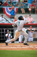 Daytona Tortugas Malik Collymore (11) hits a home run in the top of the fifth inning during a game against the Florida Fire Frogs on April 7, 2018 at Osceola County Stadium in Kissimmee, Florida.  Daytona defeated Florida 4-3 in a six inning rain shortened game.  (Mike Janes/Four Seam Images)