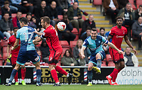 Matt Bloomfield of Wycombe Wanderers hits the ball upfield during the Sky Bet League 2 match between Leyton Orient and Wycombe Wanderers at the Matchroom Stadium, London, England on 1 April 2017. Photo by Andy Rowland.