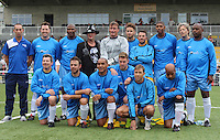 Team Line Up during Showbiz XI v Tesco Online Charity Football Match at Maidstone Football Club, England on 22 September 2013. Photo by Andy Rowland.
