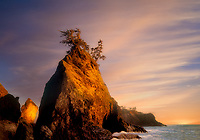 Rock formation and shoreline at Boardman State Park, Oregon.