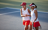 STANFORD, CA - January 26, 2011: Hilary Barte and Stacey Tan of Stanford women's tennis during their match against UC Davis' Chui/Heneghan. Barte/Tan won 8-2.