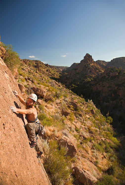 Patrick Winstanley climbs in Devil's Canyon near Superior, Arizona (model release available)
