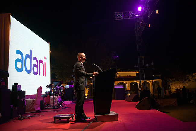 2 December 2012, Mundra, Gujurat, INDIA:  Queensland Premier Campbell Newman makes a speech  in front of  Federal Minister for Resources and Energy, Martin Ferguson,delegates from Queensland business and Indian businessman Gautam Adani on a visit to Gujurat. Guests were treated to a performance of Queensland orchestra act Deep Blue at a private concert at the home of Mr. Adani. Deep Blue are in India as part of Oz Fest.   Picture by Graham Couch/DFAT