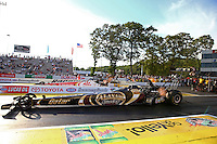 May 31, 2013; Englishtown, NJ, USA: NHRA top fuel dragster driver Khalid Albalooshi (near lane) races alongside Doug Kalitta during qualifying for the Summer Nationals at Raceway Park. Mandatory Credit: Mark J. Rebilas-