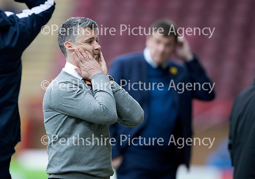 Motherwell v St Johnstone…18.03.17     SPFL    Fir Park<br />Steven Robinson turns away after a bad miss by Scott McDonald<br />Picture by Graeme Hart.<br />Copyright Perthshire Picture Agency<br />Tel: 01738 623350  Mobile: 07990 594431