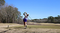 WALLACE, NC - MARCH 09: Tonrak Tasaso of High Point University tees off on the 16th hole of the River Course at River Landing Country Club on March 09, 2020 in Wallace, North Carolina.