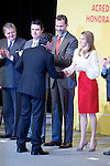 Spain's crown Prince Felipe and Princess Letizia shakes hands with actor Antonio Banderas during a ceremony to designate Spain Brand ambassadors. February 12, 2013. (ALTERPHOTOS/Alvaro Hernandez)