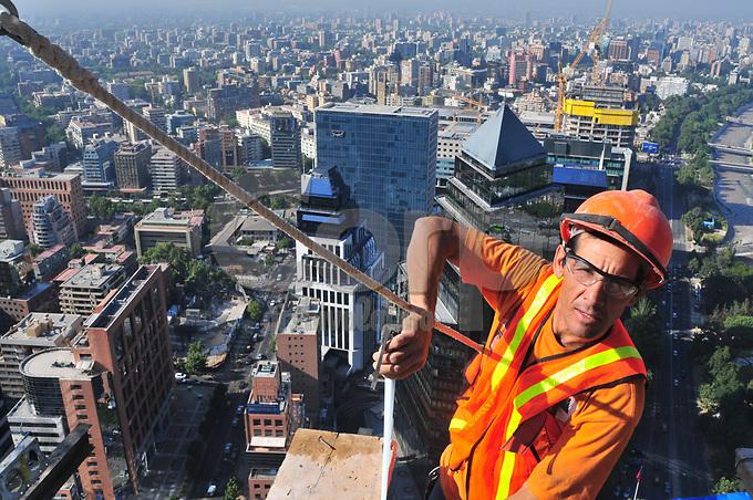 Construccion del edificio Platinum en  Santiago de Chile.