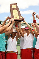 23 May 2006: Jessica Nguyen, Whitney Deason, Amber Liu and the team hold the trophy after Stanford's 4-1 win over the Miami Hurricanes in the 2006 NCAA Division 1 Women's Tennis Team Championships at the Taube Family Tennis Stadium in Stanford, CA.