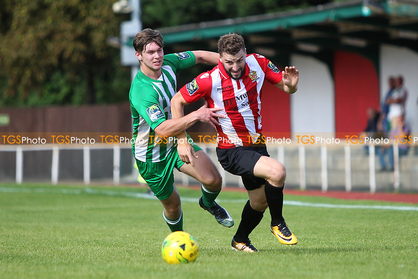 Brad Warner of Hornchurch and Daniel Buddle of Soham challenge for the bal during AFC Hornchurch vs Soham Town Rangers, Bostik League Division 1 North Football at Hornchurch Stadium on 12th August 2017