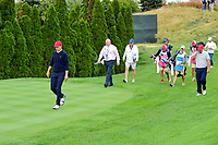 Jordan Spieth (USA) departs the 4th tee during round 3 Four-Ball of the 2017 President's Cup, Liberty National Golf Club, Jersey City, New Jersey, USA. 9/30/2017.<br /> Picture: Golffile | Ken Murray<br /> <br /> All photo usage must carry mandatory copyright credit (&copy; Golffile | Ken Murray)