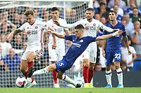 Jorginho of Chelsea tackles Sheffield United's Luke Freeman during Chelsea vs Sheffield United, Premier League Football at Stamford Bridge on 31st August 2019