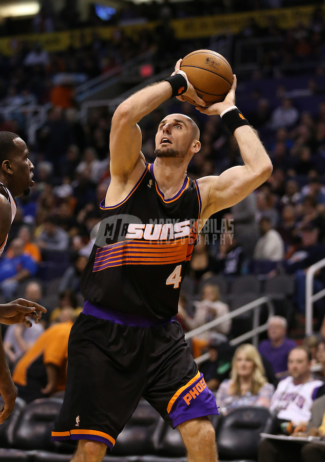 Feb. 10, 2013; Phoenix, AZ, USA: Phoenix Suns center Marcin Gortat against the Oklahoma City Thunder at the US Airways Center. Mandatory Credit: Mark J. Rebilas-