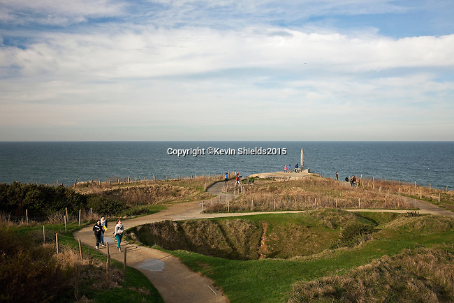 Bomb craters at Pointe du Hoc, a promontory between Utah Beach and Omaha Beach, Normandy, France.