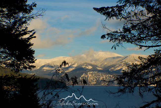 Good Snow Covered Cabinet Mountains, Lake Pend Oreille, Idaho