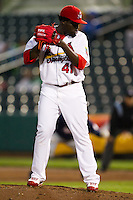 Maikel Cleto (41) of the Springfield Cardinals checks a base runner on first base during a game against the Northwest Arkansas Naturals on May 13, 2011 at Hammons Field in Springfield, Missouri.  Photo By David Welker/Four Seam Images.