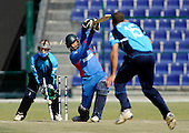 Scotland's Kyle Coetzer bowls Man of the Match Noor Ali (for 42) in the T20 World Cup Qualifying match in Abu Dhabi - Picture by Donald MacLeod 09.02.10