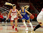 VERMILLION, SD - JANUARY 19: Rylie Cascio Jensen #2 of the South Dakota State Jackrabbits drives to the basket past Madison McKeever #23 of the South Dakota Coyotes at the Sanford Coyote Center on January 19, 2020 in Vermillion, South Dakota. (Photo by Dave Eggen/Inertia)